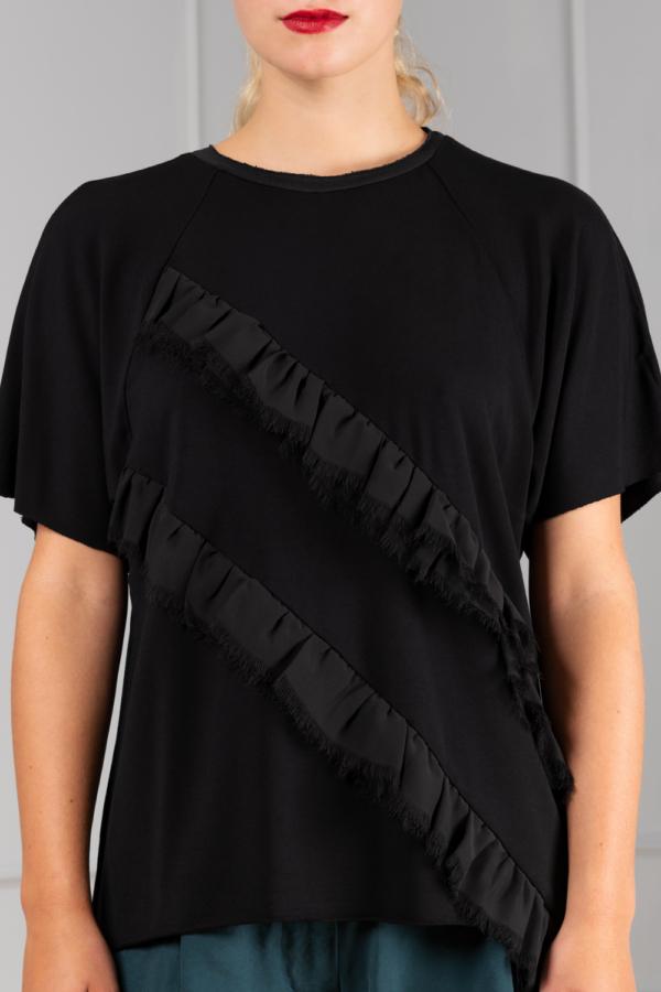 black-bamboo t-shirt with chiffon-ruffles