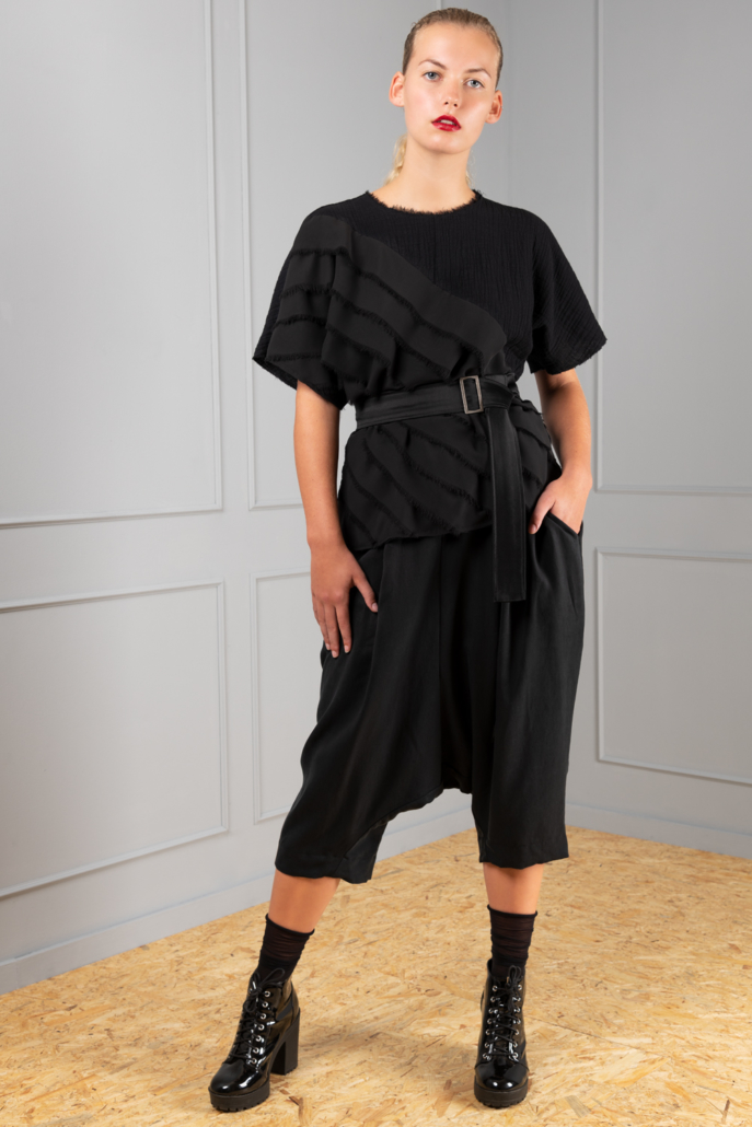 tencel black drop-crotch trousers