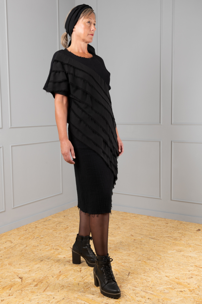 black cotton dress with frayed chiffon