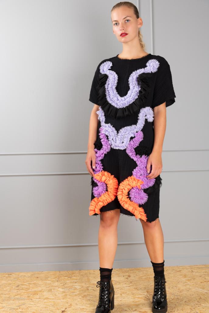 colored ruffled dress
