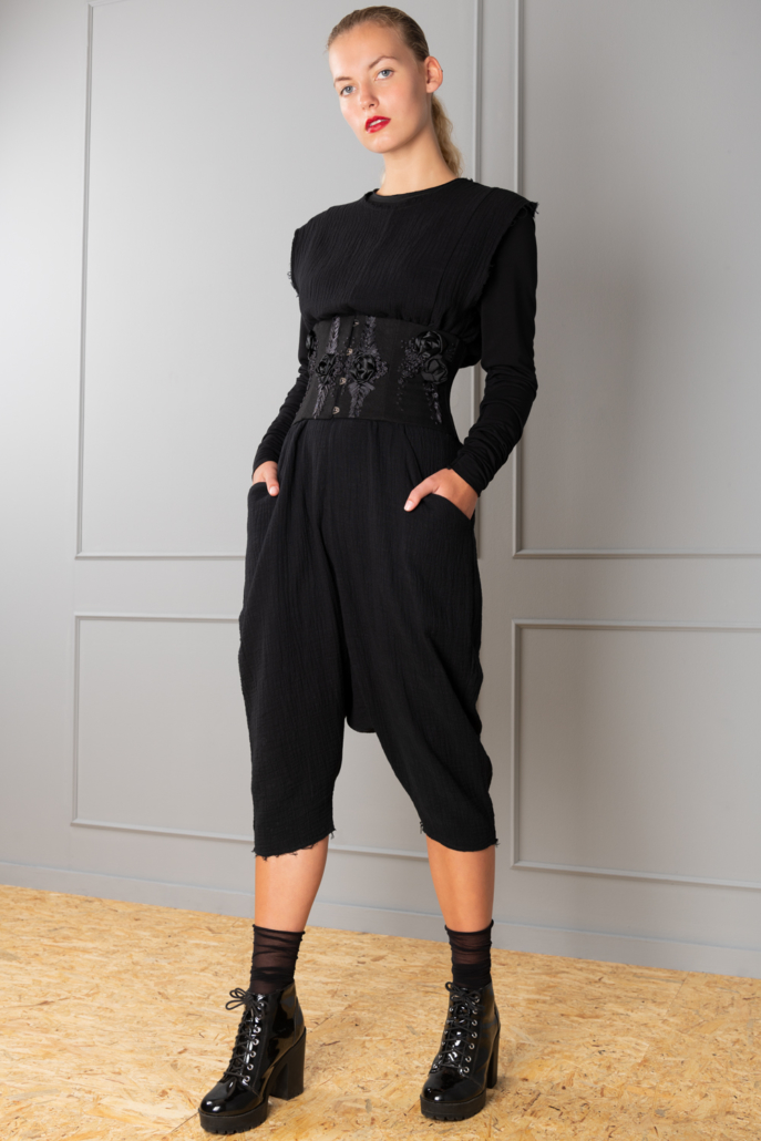 black cotton jumpsuit