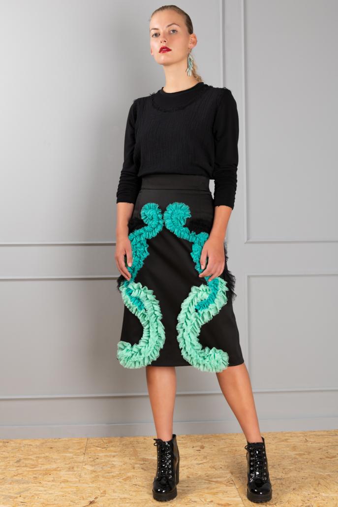 black pencil skirt with ruffles