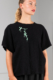 embroidered black hydrophilic-cotton top