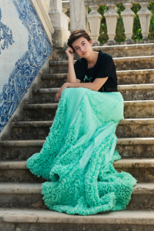 unique mint-green ruffled skirt