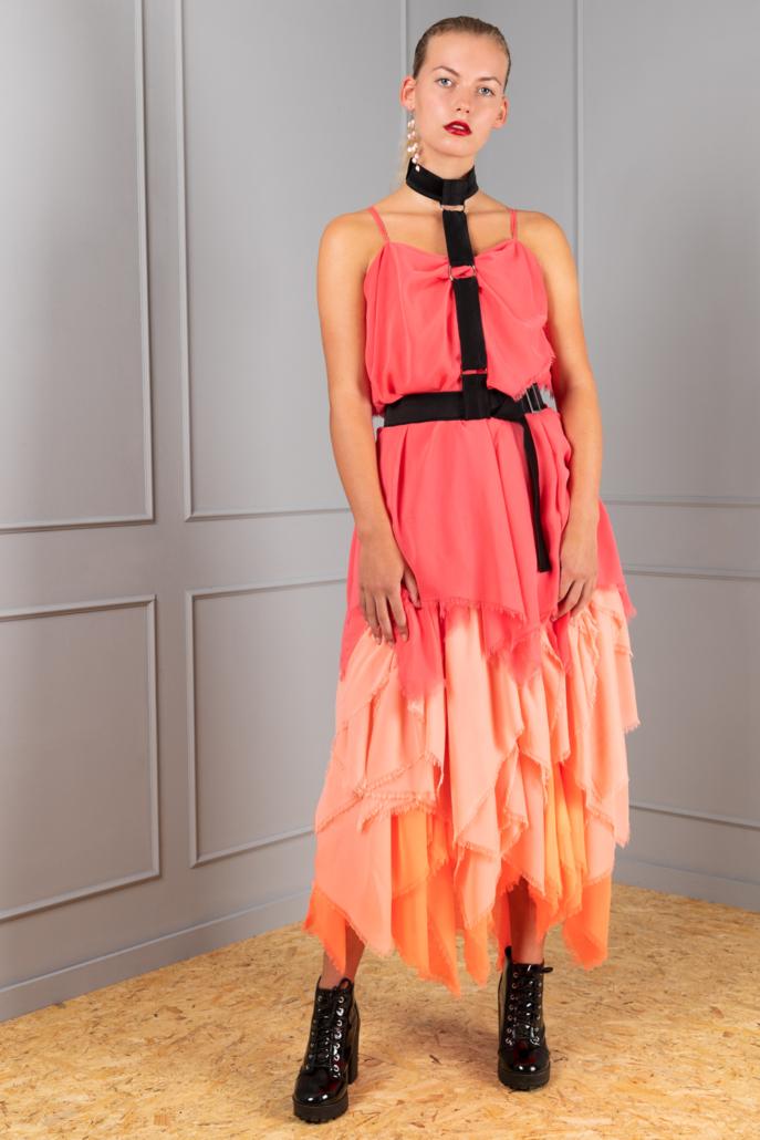 pink layered chiffon dress