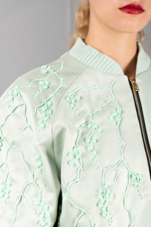 mint-green embroidered bomber jacket