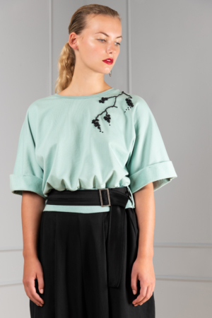ribbon-embroidered mint cotton top
