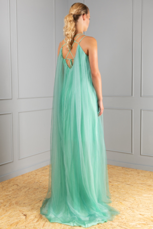 A-line green tulle dress