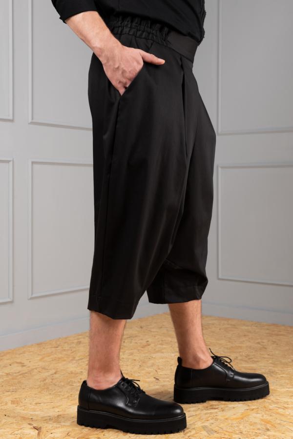 black drop-crotch trousers for men