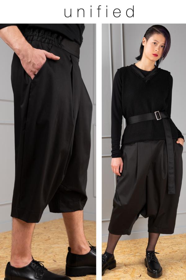 black drop-crotch unisex trousers