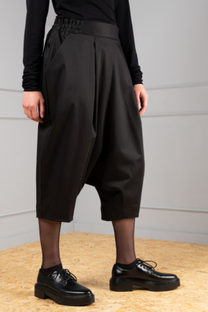 black drop-crotch trousers for women