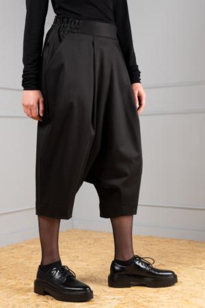black drop-crotch trousers for women