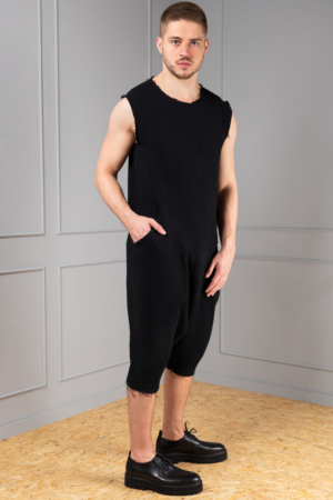 black cotton jumpsuit for men