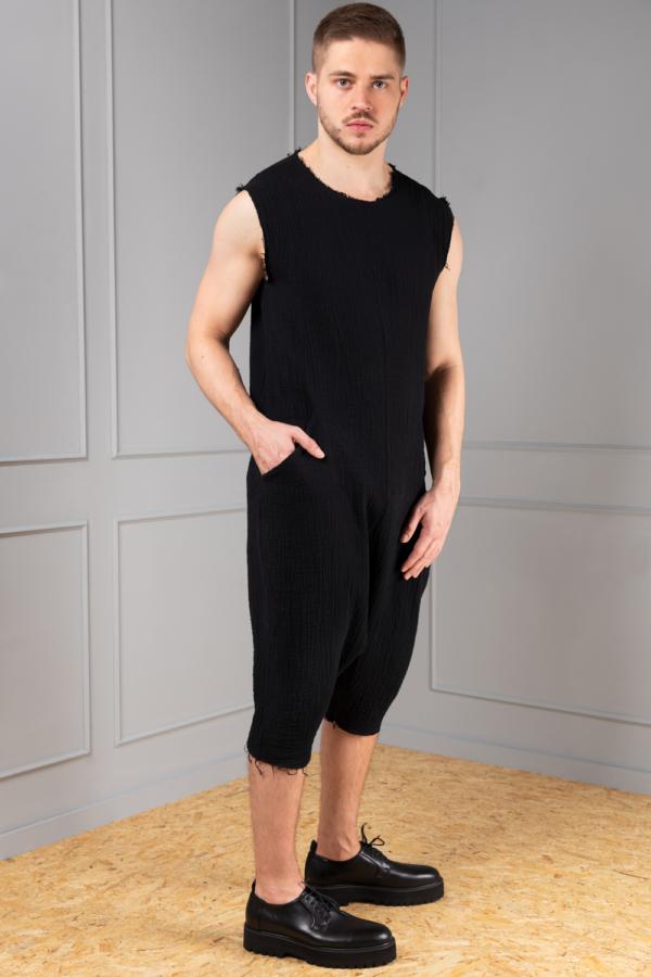 black cotton jumpsuit for men