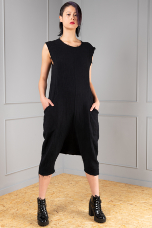 black cotton jumpsuit for women