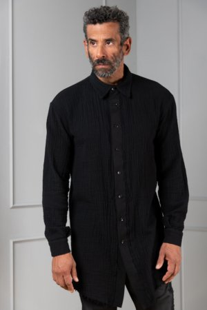 black button-down shirt for men