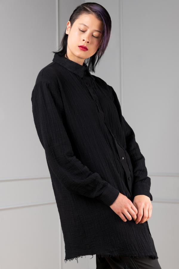 black button-down shirt for women