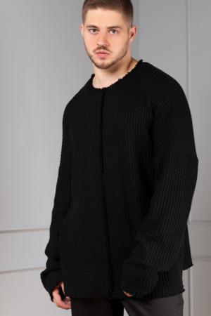 black-knitted oversized pullover for men