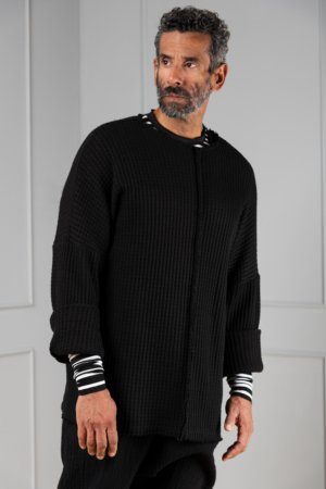 black-knitted oversized pullover for men