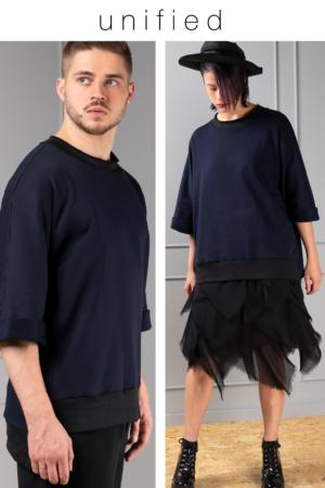 dropped hemline unisex sweater