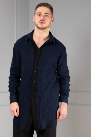 blue button-down shirt for men