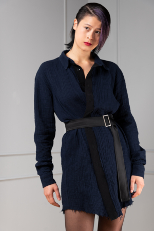 blue button-down shirt for women