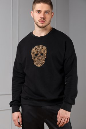 hand-embroidered skull sweater for men