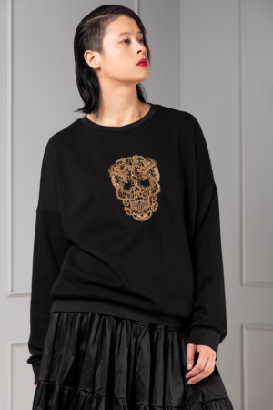 hand-embroidered skull sweater for women