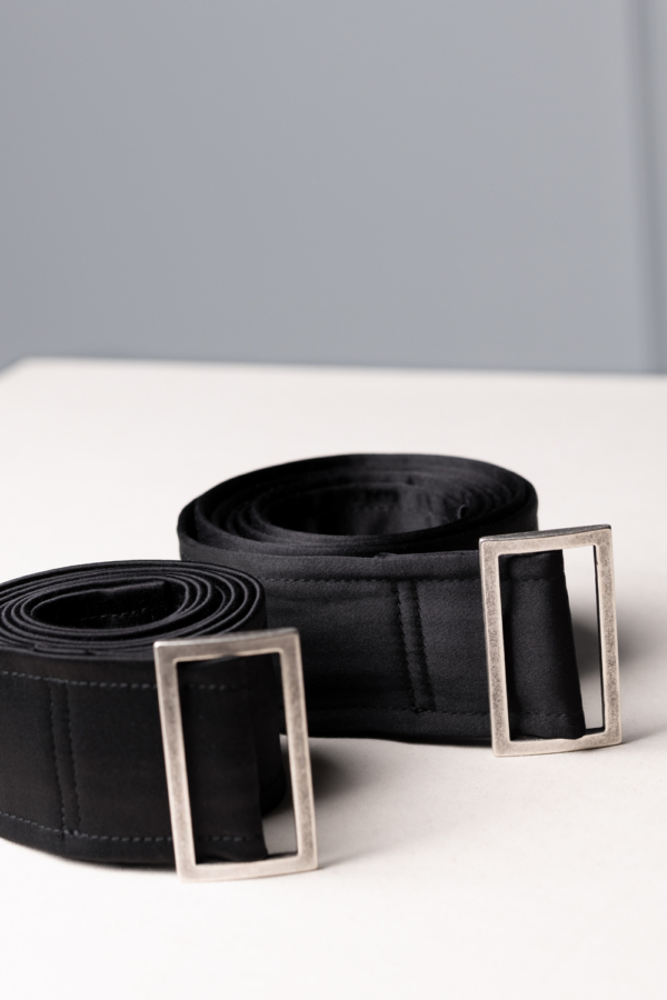 long black-satin womens belt