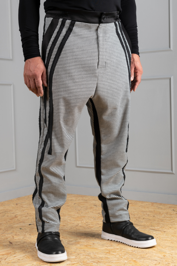 houndstooth men's trousers with slim fit leg