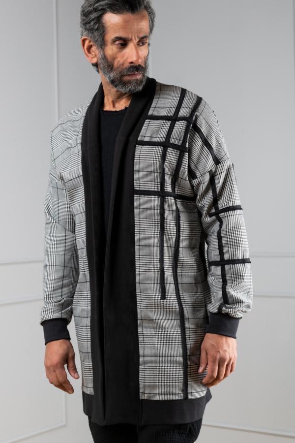 houndstooth cardigan for men