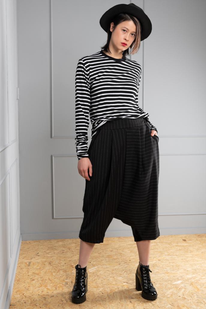 pinstripe drop-crotch unisex trousers