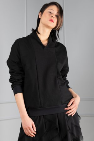 black sweater with shawl collar for women