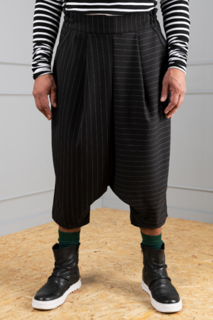 pinstripe drop-crotch trousers for men