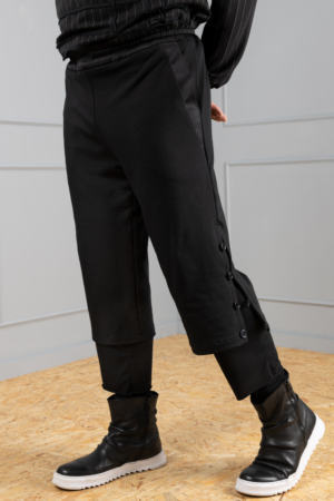 black double-layered men's trousers