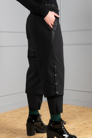 black double-layered women's trousers