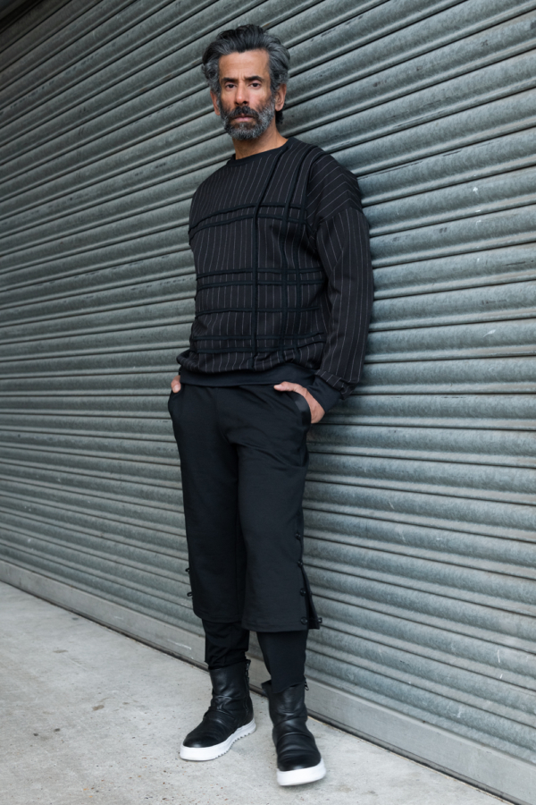 black pinstripe mens sweater