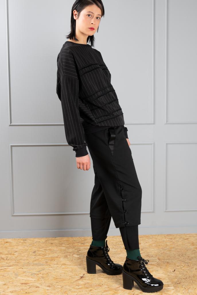 black pinstripe women's sweater