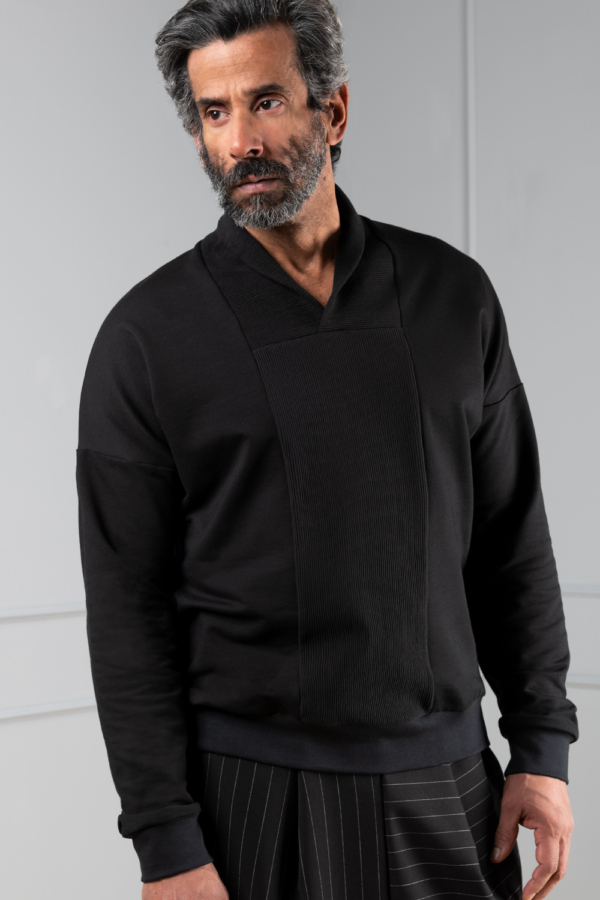 black men's sweater with v-neck