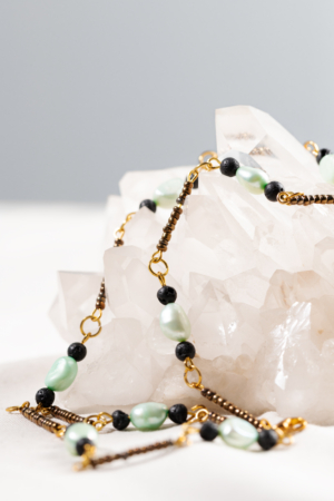 Blue freshwater-pearls lava-stones golden necklace
