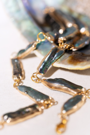 Blue freshwater-pearls golden necklace