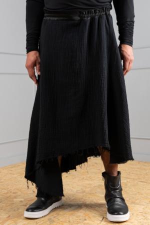 men's black cotton skirt