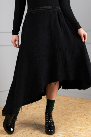 asymmetrical black cotton skirt