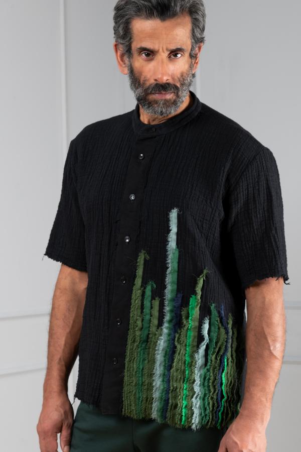 black stand-collarmen's shirt