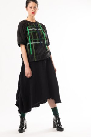 asymmetrical black cotton skirt