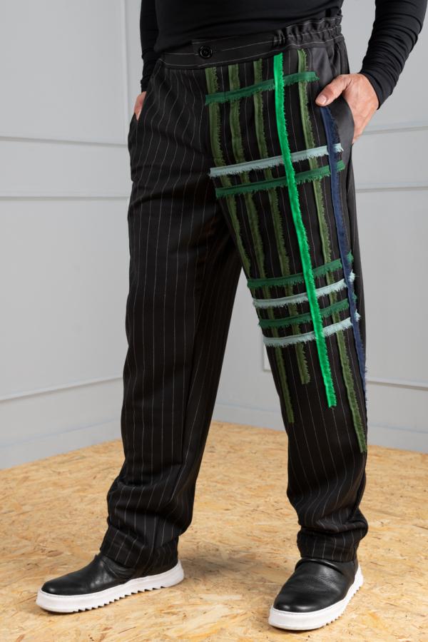 Pinstripe men's trousers with chiffon pattern