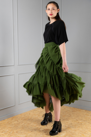 ruched green chiffon skirt