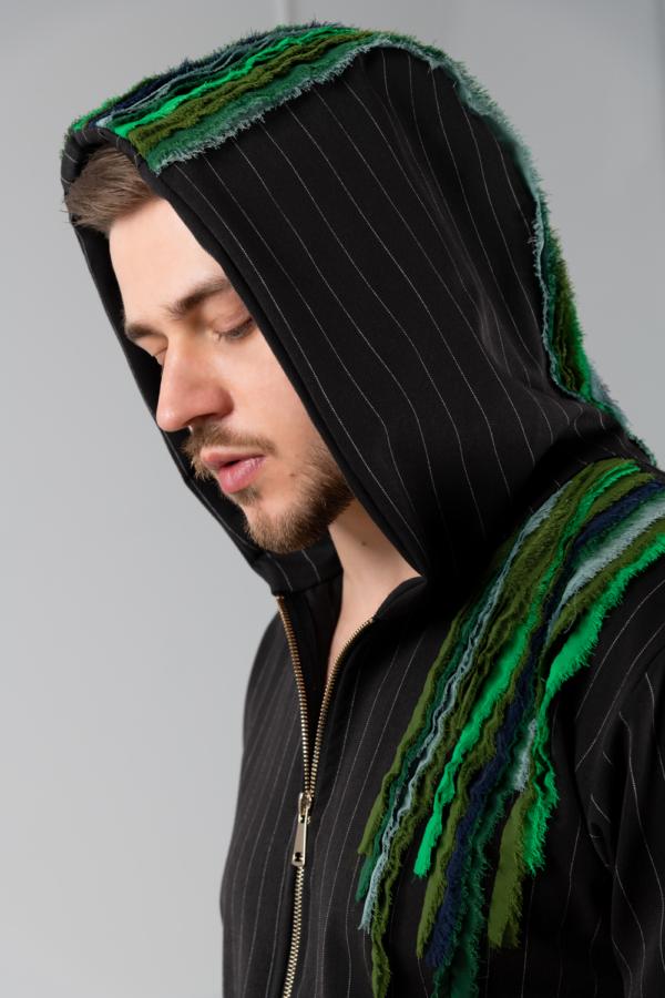 black pinstripe men's hoodie