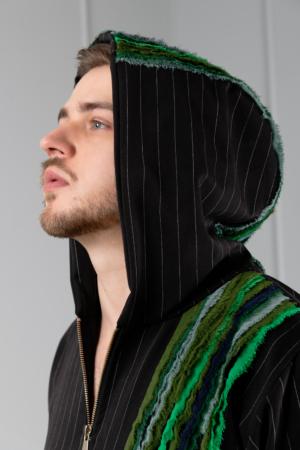 black pinstripe unisex hoodie