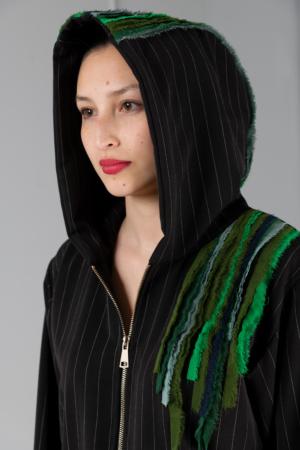 black pinstripe women's hoodie